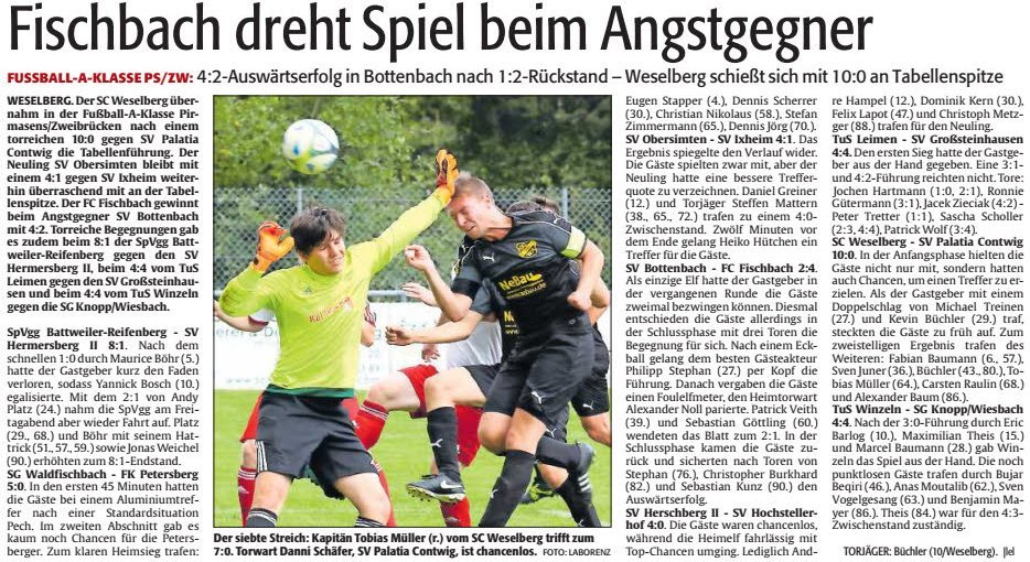 A-Klasse: Spielbericht vom 4. Spieltag