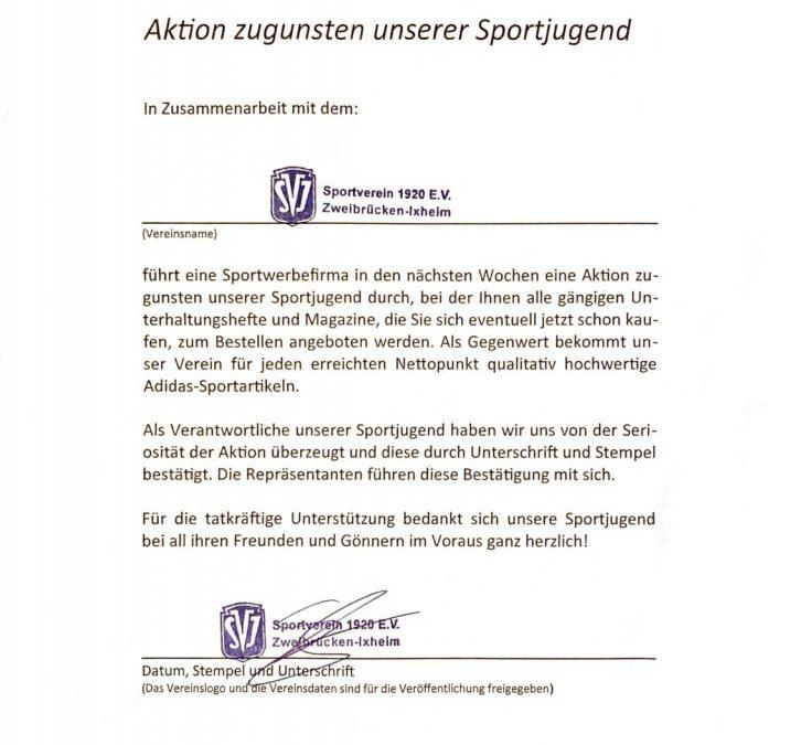 Aktion zugunsten unserer Sportjugend