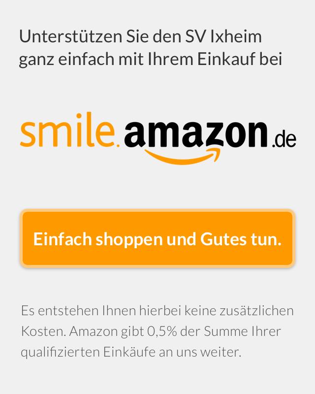 Unterstützen Sie den SV 1920 Ixheim, in dem Sie auf smile.amazon.de einkaufen. Es entstehen Ihnen hierbei keine zusätzlichen Kosten. Amazon gibt 0,5% der Summe Ihrer qualifizierten Einkäufe weiter - ohne Extrakosten für Sie.